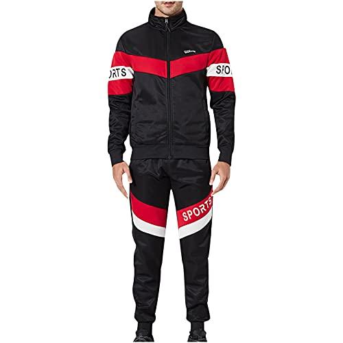 BGUK Chándal para hombre, chándal, chándal, chándal, pantalones deportivos con capucha, 2 unidades, Negro , S