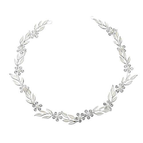 Lurrose Moda simple aleación hoja diadema pelo banda novia pelo corona tocado...