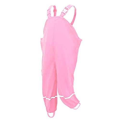 AMIYAN Kinder Regenlatzhose Regenhose wasserdichte Atmungsaktiv Buddelhose Matschhose mit Hosenträgern für Mädchen Jungen Rosa 98/104