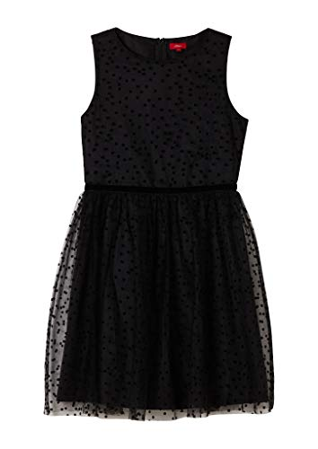 s.Oliver Junior Mädchen 401.10.011.20.200.2062107 Kleid, Black Dots, 164.REG