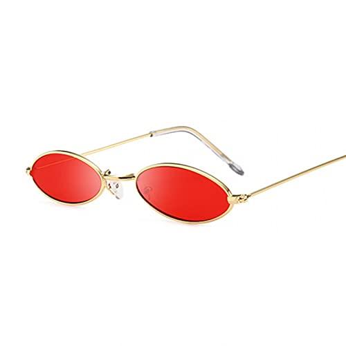 Tanxianlu Gafas de Sol ovaladas pequeñas Vintage para Mujer, Montura metálica de Marca de Moda, Gafas de Sol Negras Transparentes, Gafas de Sol para Mujer Uv400,GoldRed