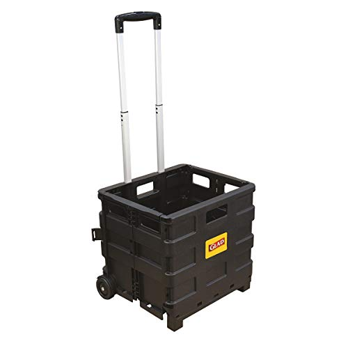 Glad Foldable Rolling Pull Cart with Telescopic Handle | Heavy Duty Folding Plastic Box with Wheels | Portable Carrier for On The Go | Collapsible Storage Crate