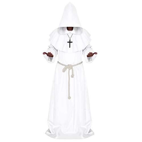 Xmiral Herren Gotischer Umhangkap mit Kapuze Reteo Cosplay Robe, Umhang + Hut + Kreuz + Seil Cosplay Punk Kapuzenjacke Dreiteiliger Anzug(Weiß,XL)