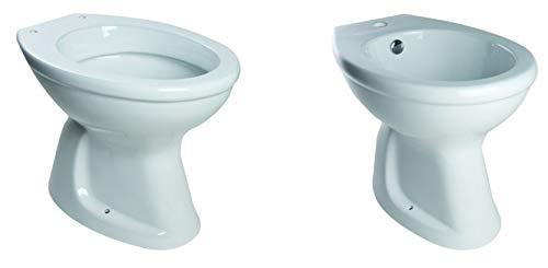 Sanitari Coppia WC - Vaso e Bidet con Scarico a Terra - Pavimento