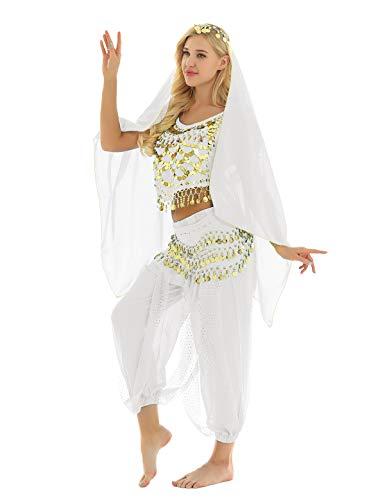 TiaoBug 4 PCS Vestito da Danza del Ventre per Donna Abito da Ballo Indiano Costume Indiana Arabo Principessa Cosplay Halloween con Paillettes Dancewear Bianco Taglia Unica