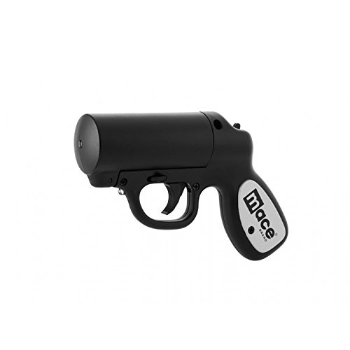 Mace Brand Self Defense Pepper Spray Gun with Strobe LED (Matte Black) – Accurate 20' Powerful Pepper Spray, Leaves UV Dye on Skin, Integrated LED Light Enhances Aim, Great Self-Defense