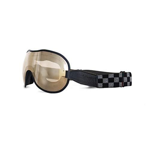 Ethen (Cafè Racer Vintage für Motorräder und Motocross Brille, Objektiv mit S2 Filter und verspiegelten Spiegeln mit braunem Effekt, Anti-UV Austauschbar Elastisch Graues Schach, Made in Italy