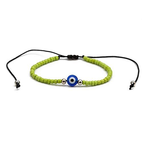 Pulsera trenzada de cuentas Miyuki, cadena de cuerda negra, pulsera con encanto de ojo turco azul, joyería ajustable para mujeres y hombres