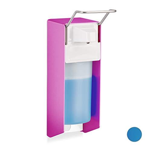Relaxdays Eurospender, 500 ml, Desinfektionsmittel, Seife, Ellenbogen-Hebel, Wandbefestigung, Hygienespender, pink