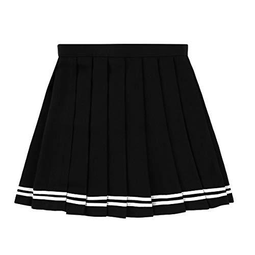 IEFIEL Falda Plisada Mujer Mini Falda Escolar Falda Corta Colegiala Uniforme Falda Escocesa Cintura Alta Elática para Chicas