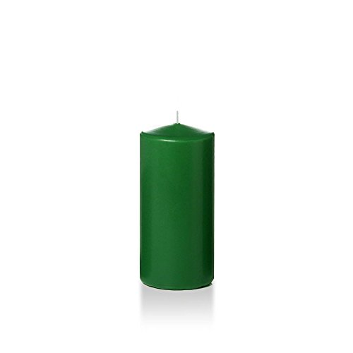 "Yummi 3"" x 6"" Hunter Green Round Pillar Candles - 3 per Pack"