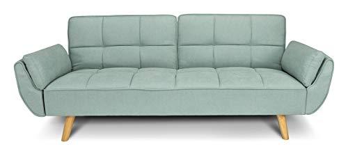 Divano letto clic clac in tessuto vellutato verde Tiffany - divano 3 posti mod. Ambra piedi legno naturale