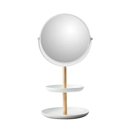 ZANZAN Specchio da trucco multifunzionale vassoio portaoggetti specchio Vanity Mirror in ferro battuto doppio lato ingrandimento specchio per bagno camera da letto Vanity specchi