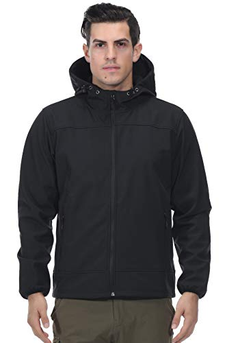 MIERSPORTS Front Zip Softshell Jacket Men's Hooded Tactical Jacket with Fleece Lining L, Navy Blue