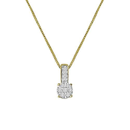 Diamond Luxury - 585 Gelbgold-Kette Entourage mit Diamant - für Damen - 2-farbig