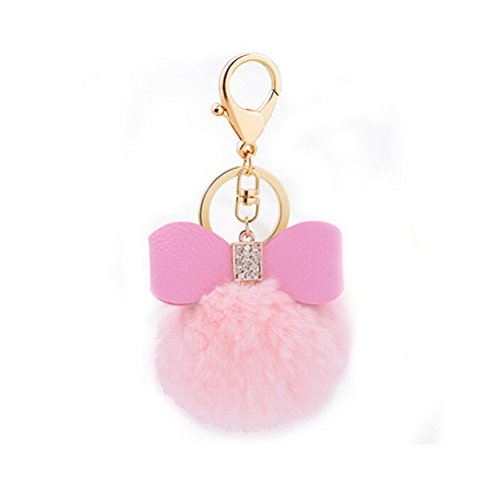 BESTIM INCUK Fluffy Faux Fur Pom Pom Keychain Keyring Ball for Car Key Ring Bag Pendant Cellphone Charm, Pink