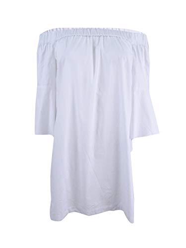 kensie Oxford Off-The-Shoulder Dress White Medium