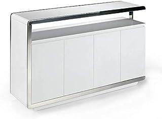 ANGEL CERDÁ | Aparador Madera Lacado Blanco Brillo con Cuatro Puertas Doble Sistema Cierre retardado Estructura y Patas ...