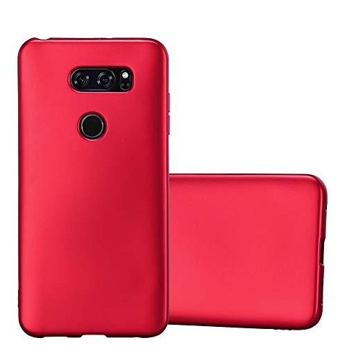 Cadorabo Custodia per LG V30 in Rosso Metallico - Morbida Cover Protettiva Sottile di Silicone TPU con Bordo Protezione - Ultra Slim Case Antiurto Gel Back Bumper Guscio