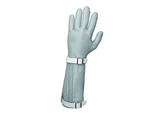 Niroflex Stechschutzhandschuhe mit Stulpe 19cm Stahlnetz Kletthandschuh M L XL, GRÖSSE:M