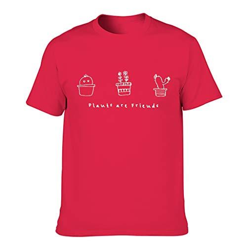 Men's Cotton T-Shirt Plants Are Friends Colourful Light Pattern T-Shirt - Red - M