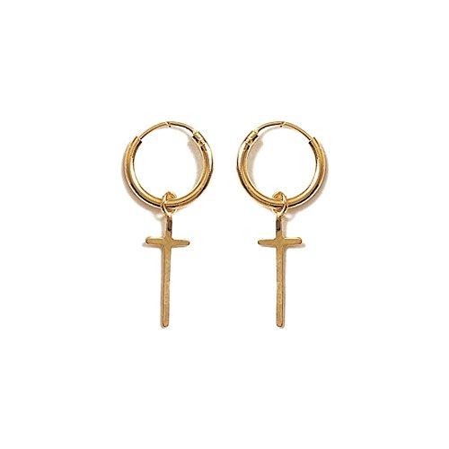 Ohrringe vergoldet–Creolen–Kreuz Katholische