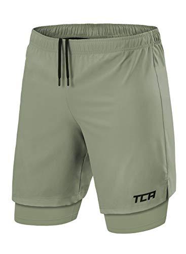 TCA Ultra Laufhose Herren 2-in-1 - Kurze Sporthose/Trainingshose/Laufshorts mit integrierter Kompressionshose und Reißverschlussfach - Army/Army (Grün/Grün), M