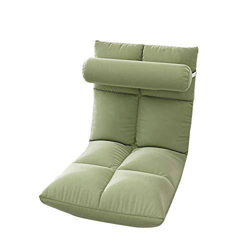 LIXIONG Silla de Suelo, Plegable Acolchado Juego de Azar Silla 5 Engranajes Ajustable Respaldo meditación Silla con Retirable Cubrir para balcón Dormitorio, 113x52x14cm (Color : Green)