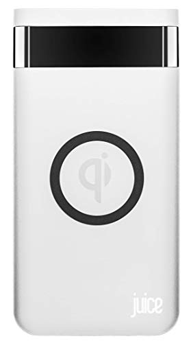 Juice Wireless QI Compatible Mobile Phone Weekender Power bank, Compatible with iPhone, Samsung, Huawei, Sony, Microsoft, Google, 10000 mAh, White, JUI-WCHAR-PBANK-WKEND-WHT