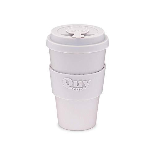 QUY CUP. Wall. Kaffeebecher to Go, Travel Mug, Bamboo Cup als Mehrweg Tasse für unterwegs, Coffee to go Becher, nachhaltiger Becher mit Deckel und Silikonmanschette, 400ml