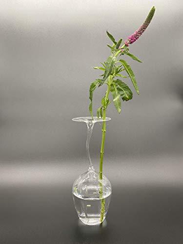 Rotweinglas als Vase Rosenvase handgefertigt originell Handarbeit