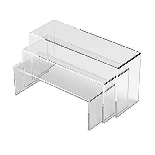 Generic 3 unidades de visualización de acrílico para mini Action Figures de los Monili Display Riser Estantería transparente para tarta soporte para caramelo – 12,7 cm 10 cm