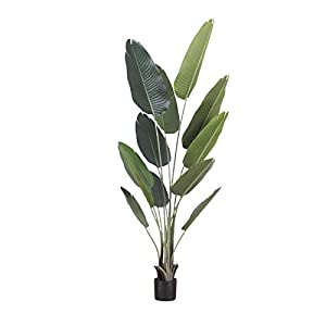 Artificial Palm Tree Fake Plant, Tall Fake Banana Tree Leaves for Indoor Outdoor Imitation Frond Leaf Tropical Plants Perfect Faux Plants for Home Garden Office Store Decoration