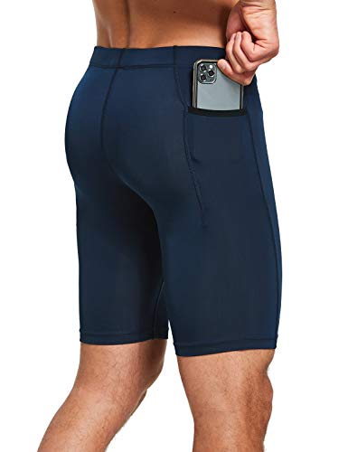 BALEAF Men's Compression Running Workout Shorts Pockets Gym Athletic Yoga Bike Tights Underwear Baselayer Dark Blue Small