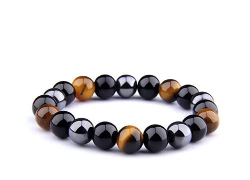 Smalllook Pulsera de piedra natural para hombre, ojo de tigre, triple protección, hematita y obsidiana negra, regalo de joyería