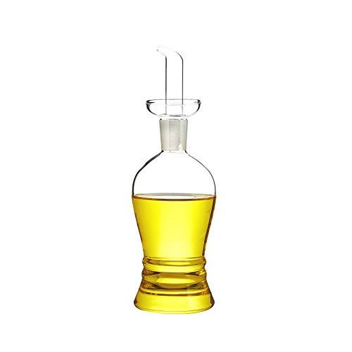 Oliera Acetiera in Vetro con Beccuccio Dosatore, Dispenser Porta Olio, Aceto e Condimenti Liquidi con Tappo Salvagoccia, per Tavolo di Cucina e Ristorante (Design Ampolla)