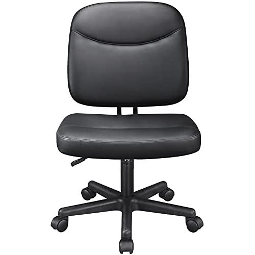 Yaheetech Bürostuhl Kunstleder Drehstuhl Schreibtischstuhl ohne Armlehnen Chefsessel auf Rollen Computerstuhl Arbeitsstuhl Extra Große Sitzfläche Schwarz
