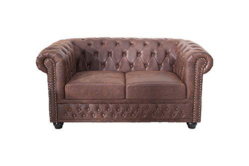 DuNord Design - Sofá de 2 plazas (cuero hueco), diseño vintage, color...