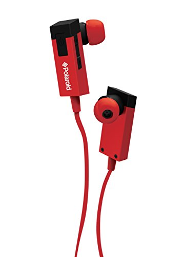 Polaroid PBT83RD Universal Wireless Tangle Free Bluetooth Headphones with Mic Compatible with All Bluetooth Devices (Red)