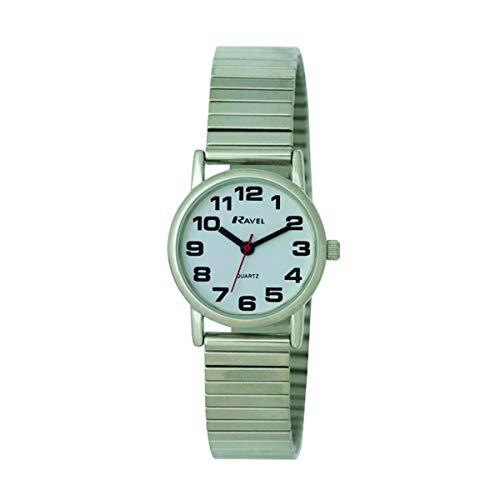 Ravel - Damen-Uhr mit Edelstahl-Expanderarmband mit großen Zahlen und Zeigern - silbernes Ton/weißes Zifferblatt