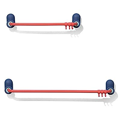 2-Pack 18'' and 12'' Colorful Metal Towel Racks with 6 Hooks, iappadore Self-Mounted Adhesive Towel Bars, Hang Towels, Brushes, Loofahs in Bathroom Kitchen Shower, Closet