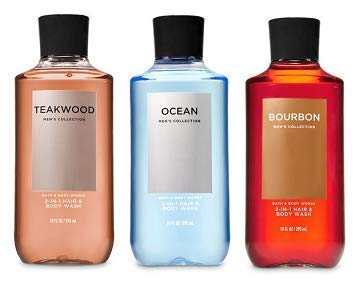 Bath and Body Works 3 Pack 2-in-1 Hair + Body Wash Teakwood, Ocean and Bourbon. 10 Oz.