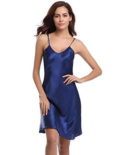 Abollria Camisón Mujer Verano Lencería Pijama de Satén Kimono Camisón para Mujer Azul Marino,XL