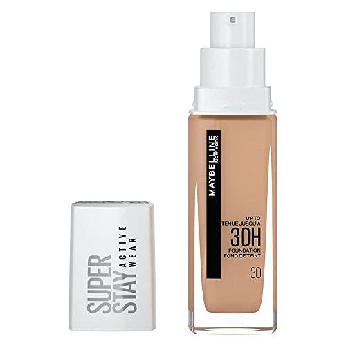 Maybelline New York Wasserfestes Make up, Foundation mit hoher Deckkraft, Langanhaltendes Gesichts-Make-up, Super Stay Active Wear, Farbe: Nr. 30 Sand (Hell) 1 x 30 ml