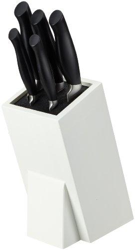 Pradel Jean Dubost 18053, Ceppo Crazy in Legno Laccato Bianco con 5 coltelli da Cucina