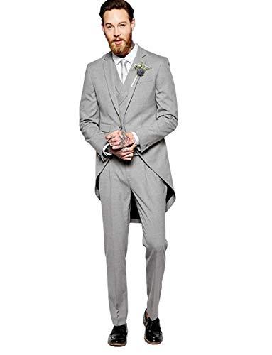 YZHEN Uomo 3 Pezzi Tailcoat Suit One Button Formal Dinner Cappotto con Coda di Rondine Tux