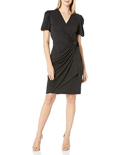 Amazon Brand – Lark & Ro Women's Matte Jersey Puff Short Sleeve V-Neck Wrap Dress
