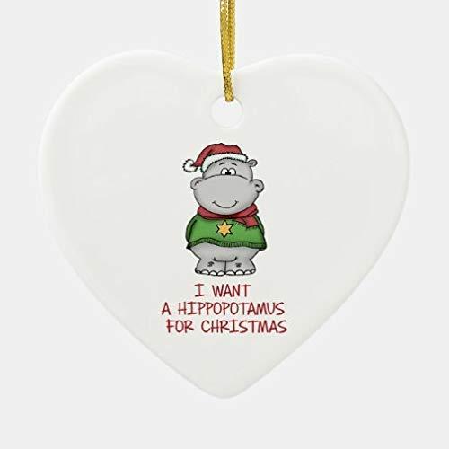 Christmas Decorations, Christmas Ornaments 2020, Hippopotamus For Christmas - Cute Hippo Design Ceramic Heart Shape Ornament for Christmas Tree, Decorative Hanging Ornaments, gift Wrap Decor