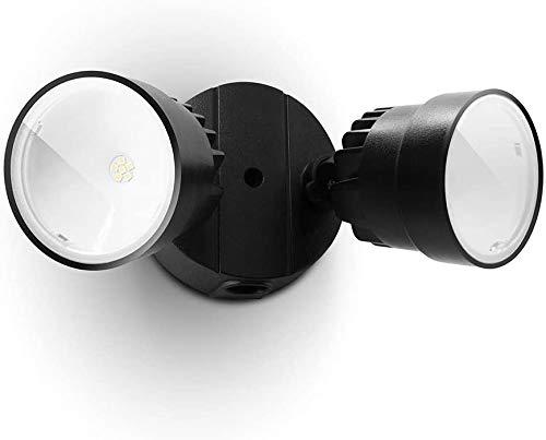 LUTEC P6221B-D2D 1130 Lumen 15 Watt 28 LED Dual-Head Flood Light Outdoor Dusk to Dawn Waterproof Exterior Security Wall Light for Patio, Garden,Yard-Black