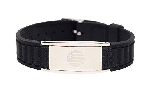 Satori Magnetic Silicone Power Energy Bracelet (Black), Stylish Therapy Bracelet - Assorted Colors - Unique Gift